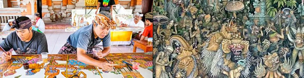 Photo of artists working at Batuan Village Bali - Kintamani private day tour